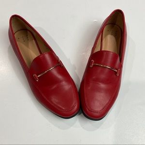 A New Day Sz 8 red loafers gold hardware very GUC